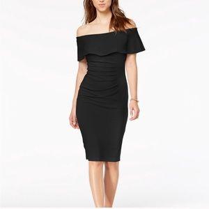 XSCAPE black off-the-shoulder ruched dress